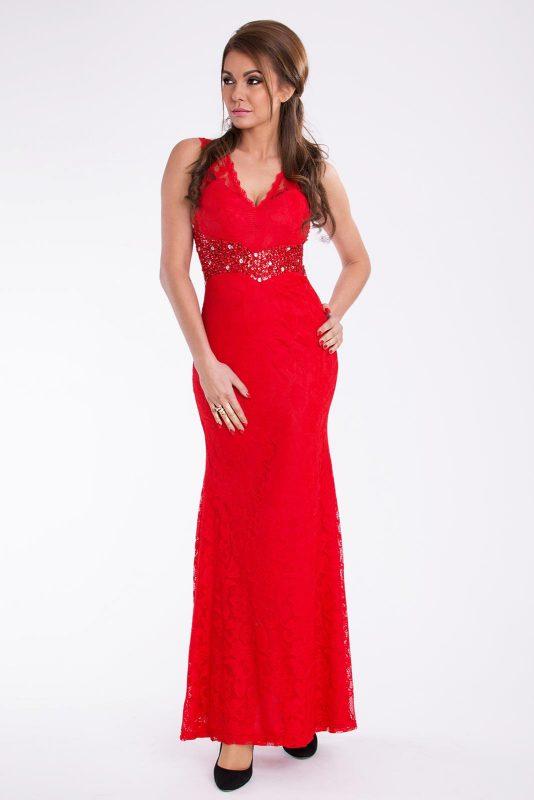 Czerwona długa suknia wieczorowa