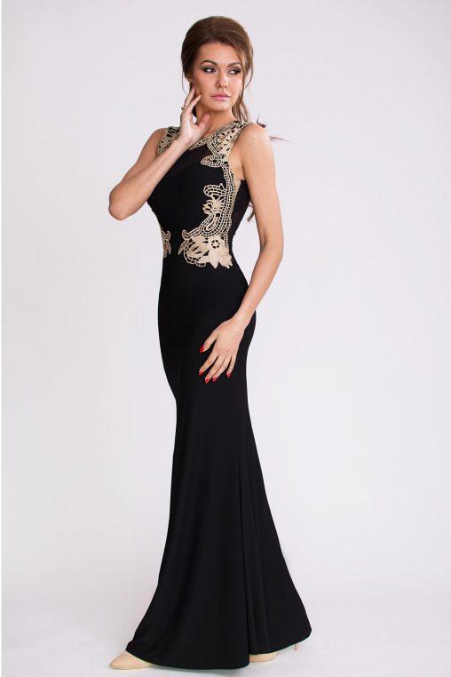 Czarna długa suknia wieczorowa z haftem