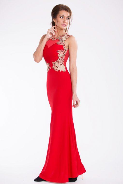 Czerwona długa suknia wieczorowa z haftem