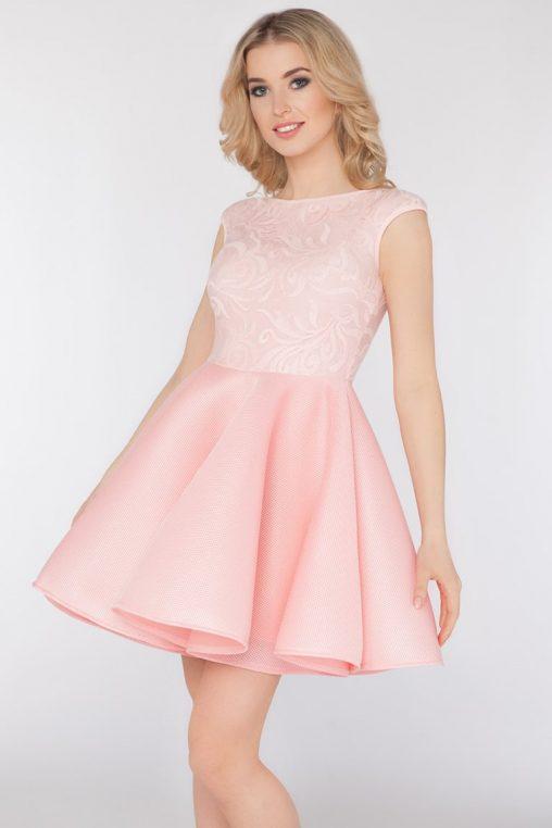 Wieczorowa rozkloszowana sukienka z koronką różowa
