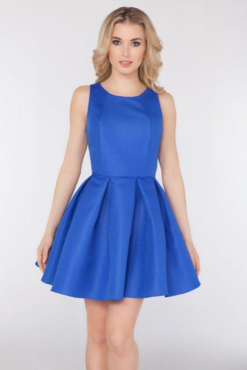 Wizytowa sukienka bez rękawów niebieska