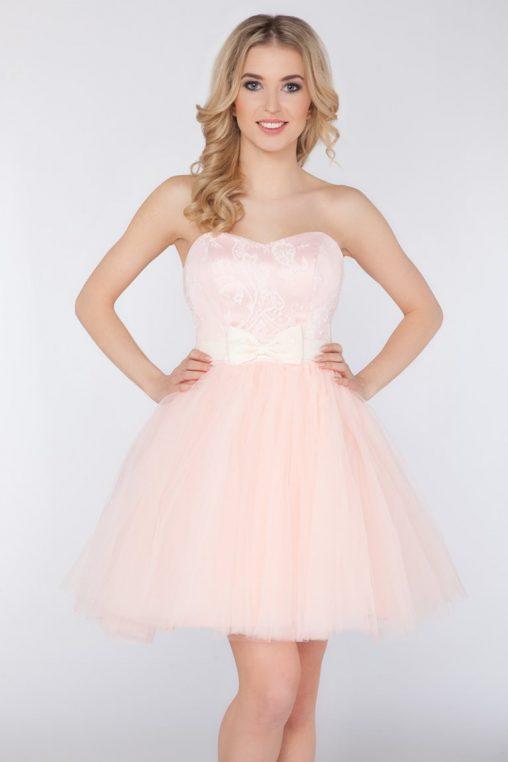 Wieczorowa gorsetowa sukienka z kokardą różowa