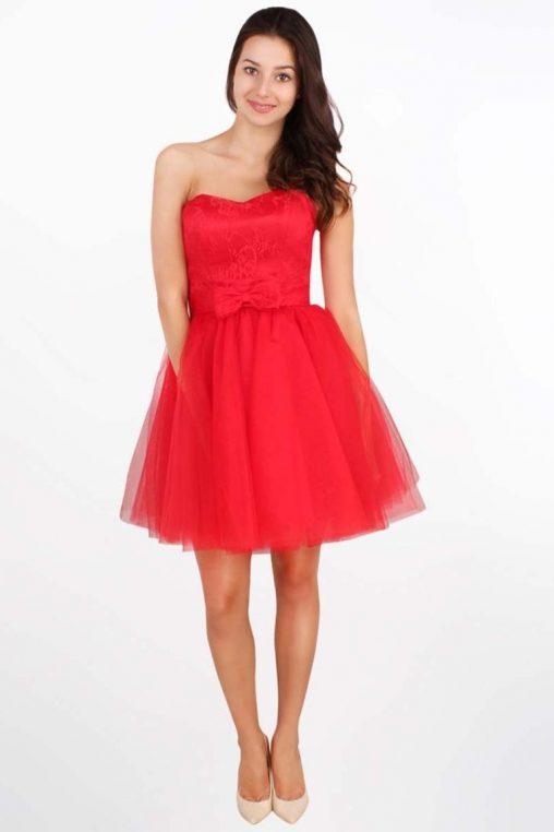 Wieczorowa gorsetowa sukienka z kokardą czerwona