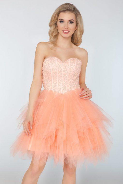 Wieczorowa gorsetowa sukienka z tiulu brzoskwiniowa