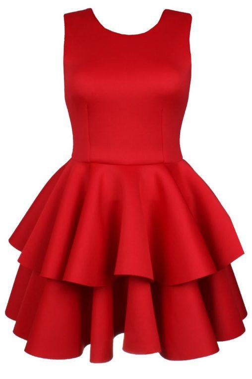 Wizytowa sukienka z falbankami czerwona