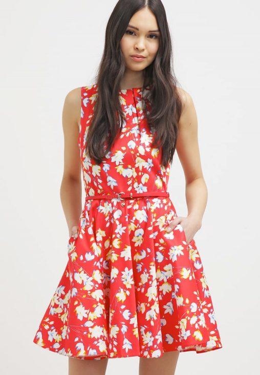 Letnia mini sukienka w kwiaty czerwona