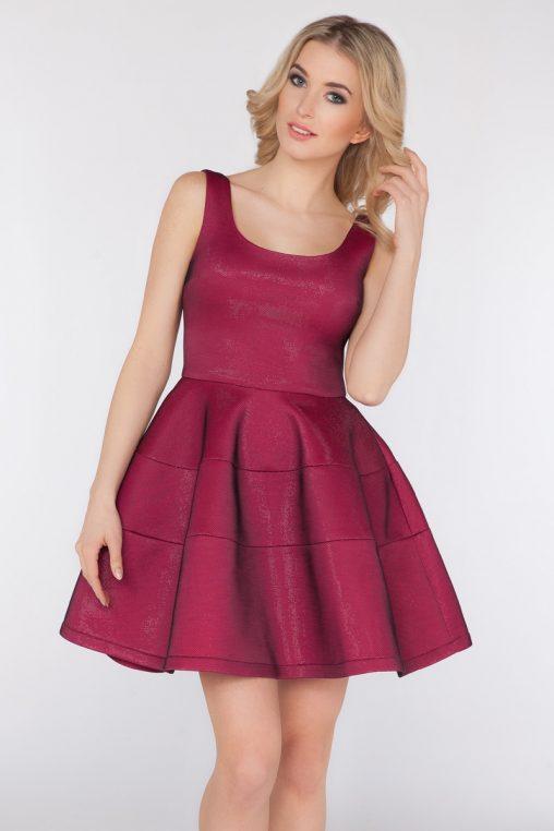 Bordowa piankowa sukienka na szelkach
