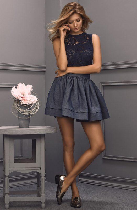 Modna ekskluzywna spódnica jeansowa