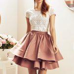 Modna ekskluzywna spódnica kolor miedziany