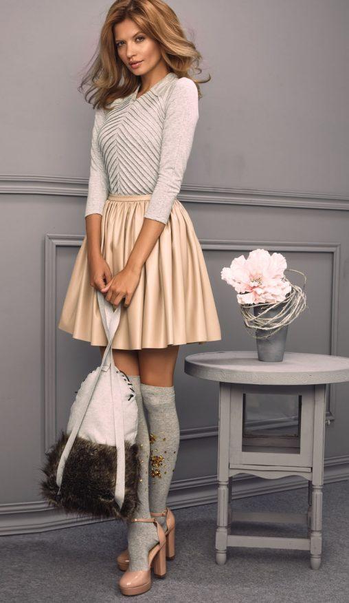 Modna ekskluzywna spódnica damska beżowa