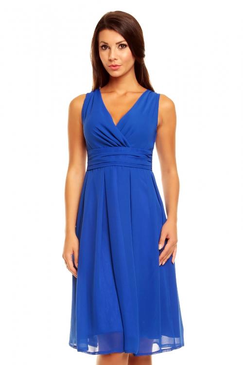 Wizytowa sukienka z szyfonu niebieska
