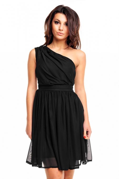 Asymetryczna sukienka z szyfonu czarna
