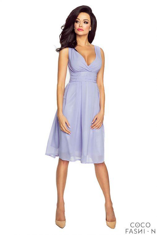 Fioletowa Zwiewna Sukienka z Głębokim Dekoltem