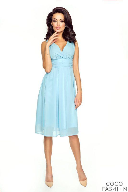 Błękitna Zwiewna Sukienka z Głębokim Dekoltem