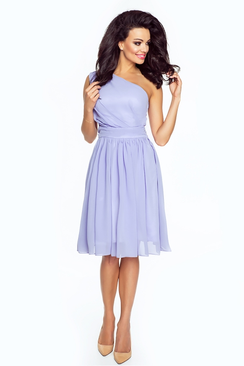Asymetryczna sukienka z szyfonu lawendowa