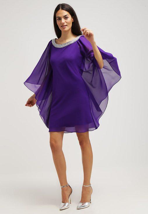 Luksusowa sukienka z szyfonu purpurowa