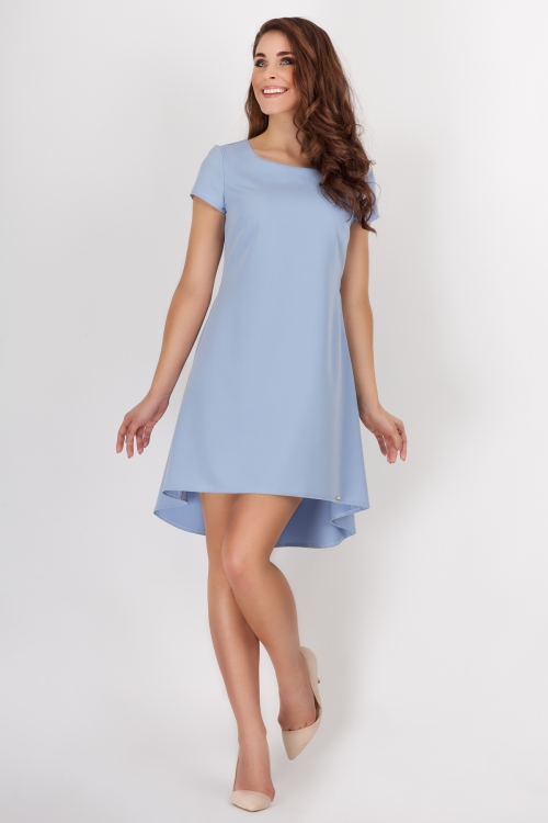 Sukienka asymetryczna kontrafałda niebieska