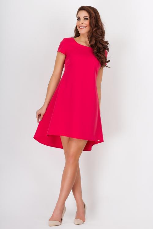 Sukienka asymetryczna kontrafałda różowa