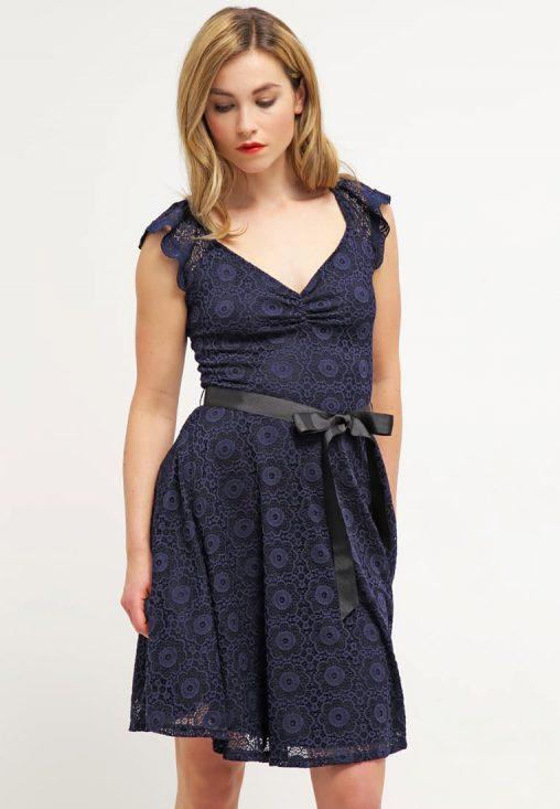 Letnia sukienka z koronki granatowa