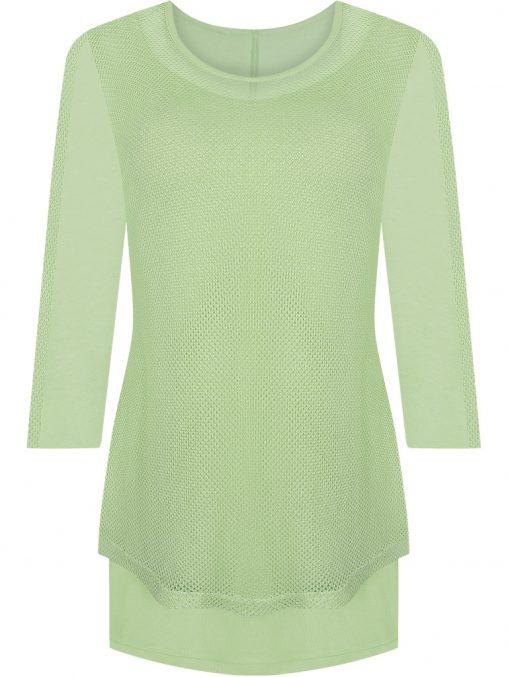 Elegancka tunika siateczka maskuje brzuch zielona