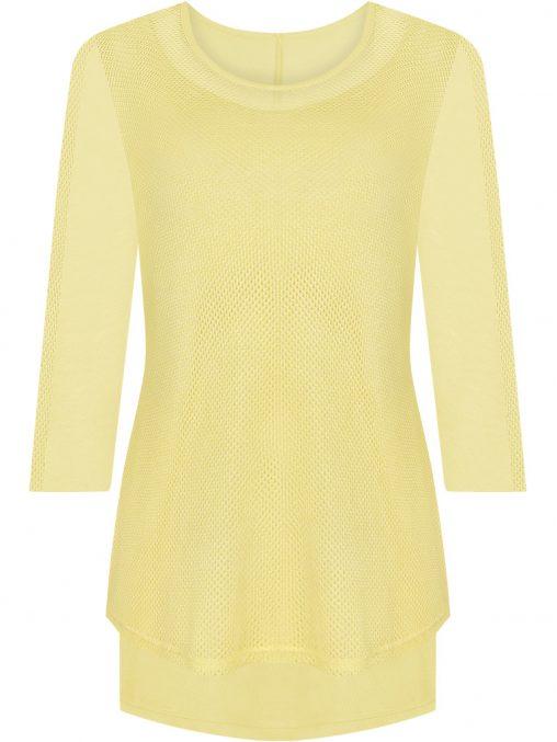 Elegancka tunika siateczka maskuje brzuch żółta