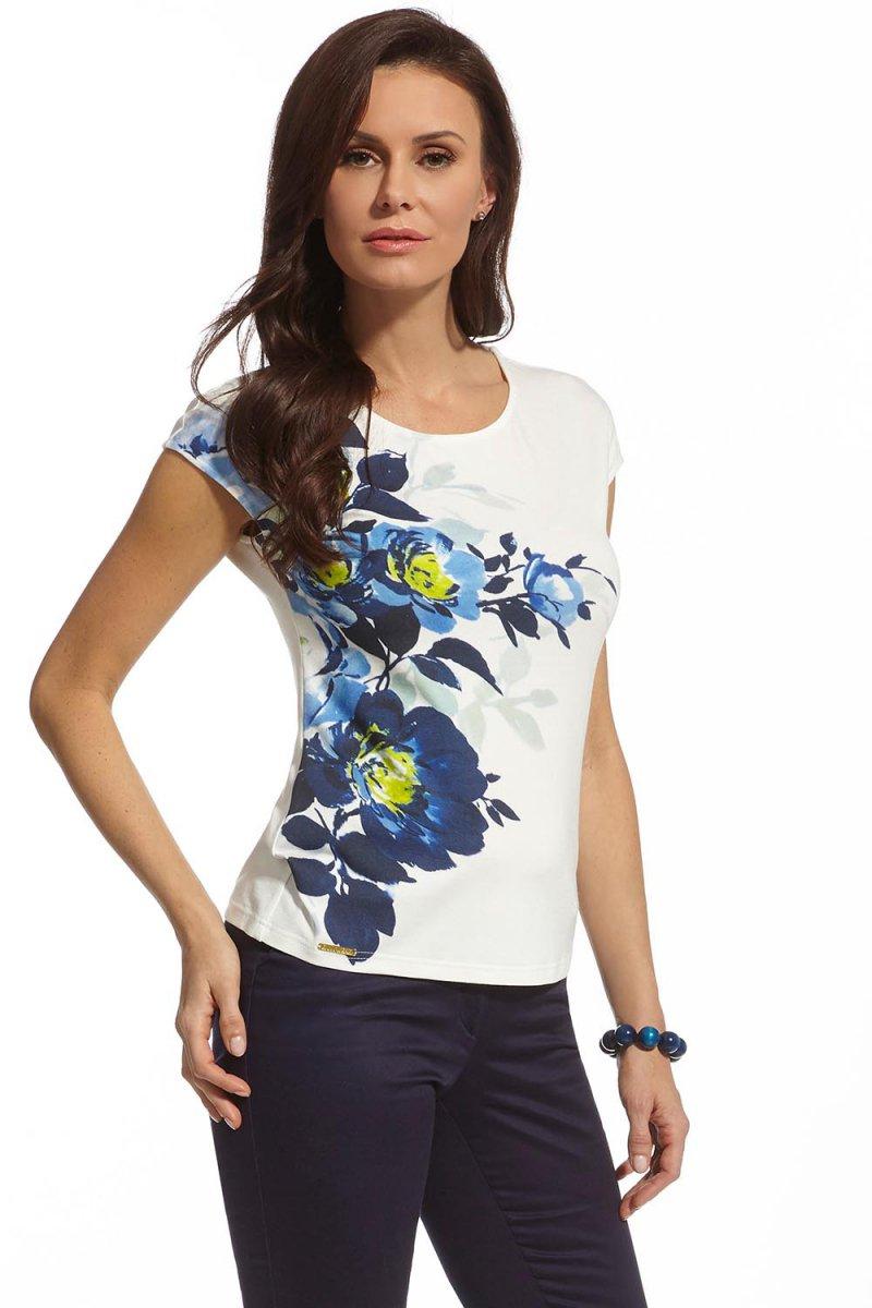 Modna bluzka letnia krótki rękaw kwiaty