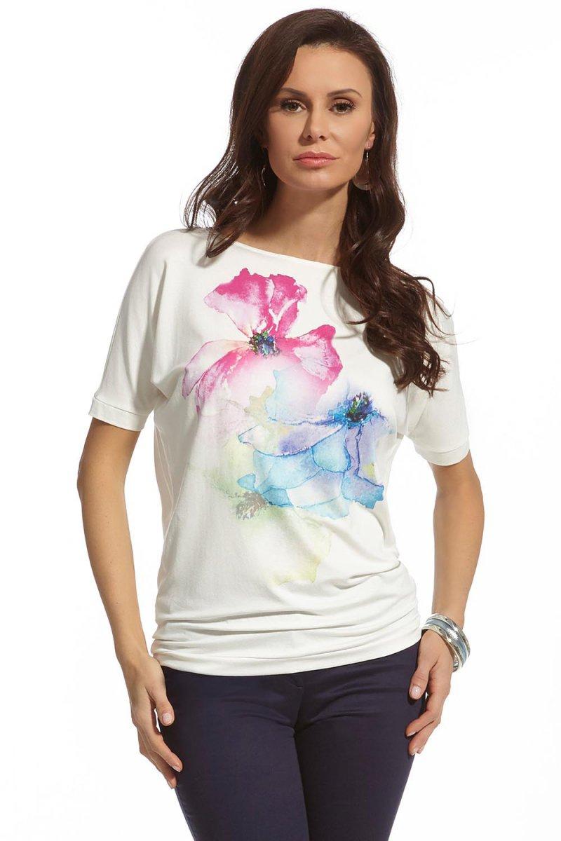 Modna bluzka letnia łódka kwiaty