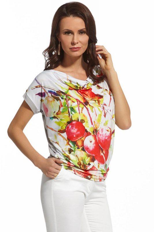 Dzianinowa bluzka letnia owoce