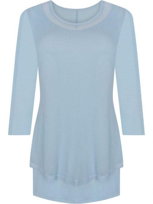 Elegancka tunika siateczka maskuje brzuch niebieska