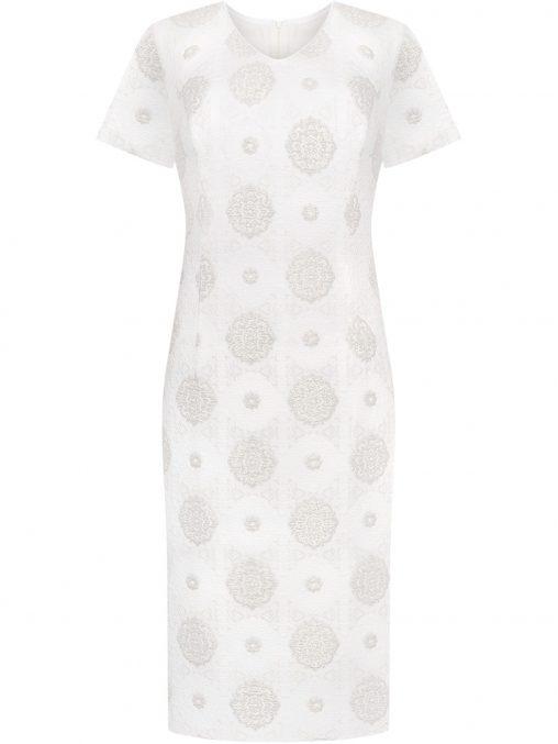 Żakardowa elegancka sukienka wizytowa waniliowa