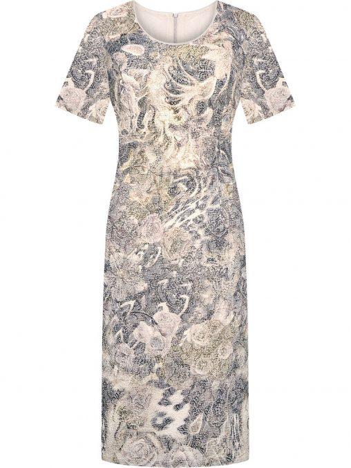 Żakardowa elegancka sukienka wizytowa wzorzysta