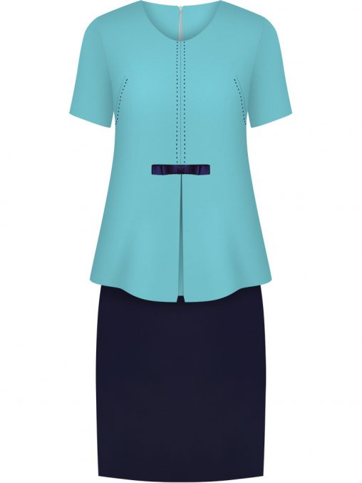 Elegancki komplet damski spódnica i bluzka turkusowy