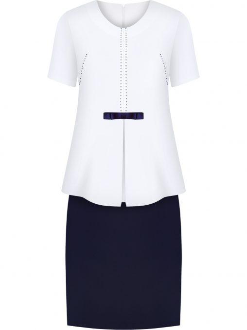 Elegancki komplet damski spódnica i bluzka ecru