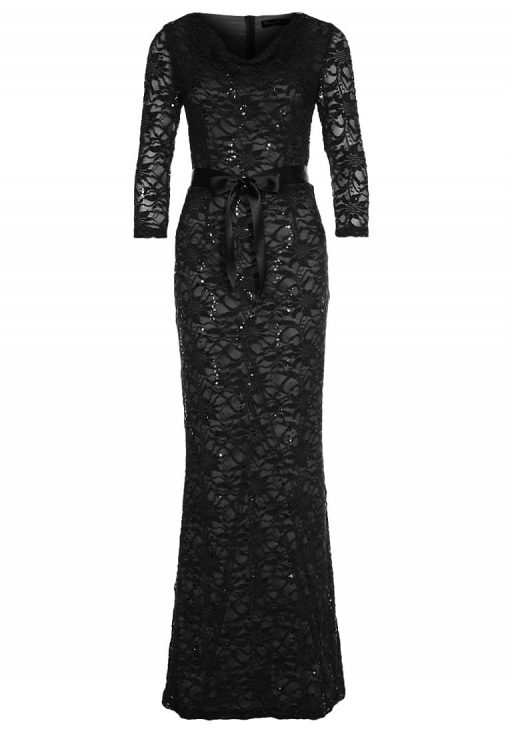 Długa koronkowa suknia balowa czarna