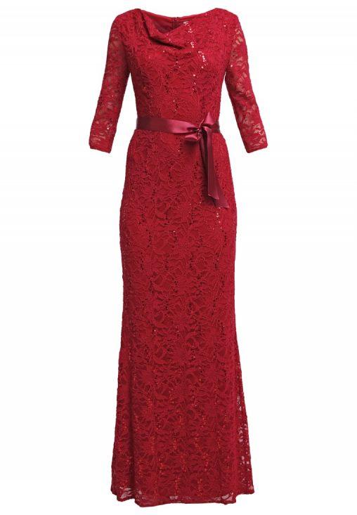 Długa koronkowa suknia balowa