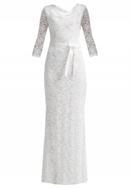 Długa koronkowa suknia balowa biała