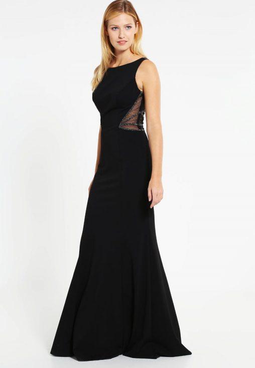 Luksusowa długa czarna suknia wieczorowa