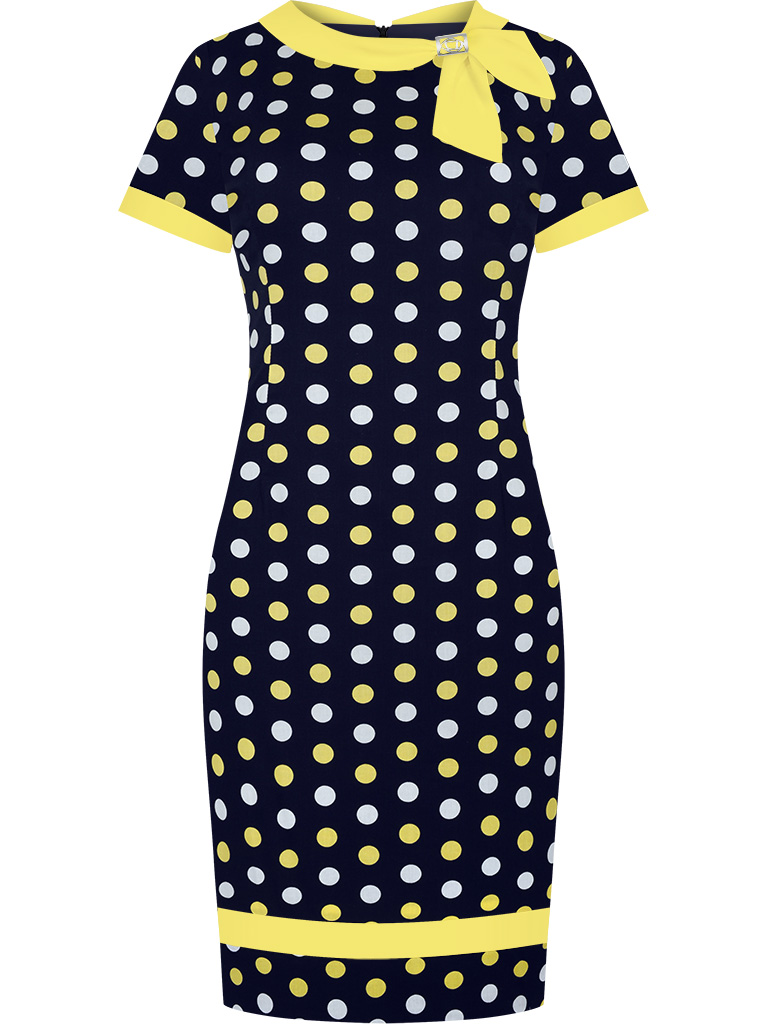 Elegancka sukienka w grochy wyszczuplająca granatowo żółta