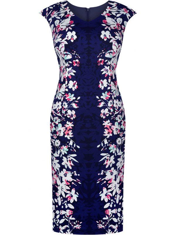 Elegancka ołówkowa sukienka w kwiaty granatowa