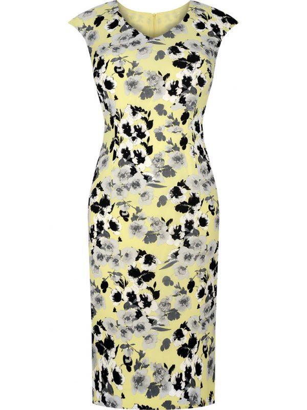 Elegancka ołówkowa sukienka w kwiaty żółta