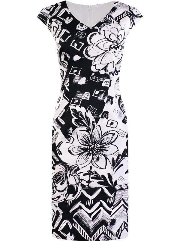 Ołówkowa elegancka sukienka w kwiaty czarno biała