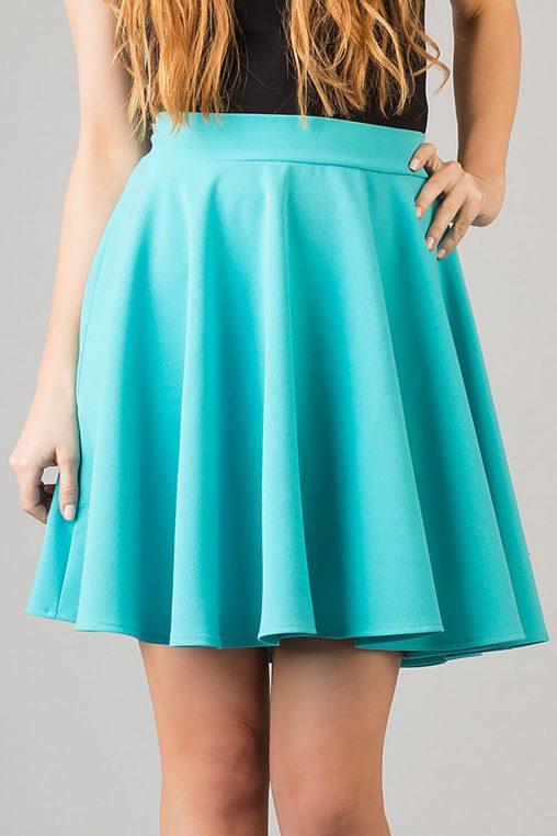 Rozkloszowana krótka spódnica mini turkusowa