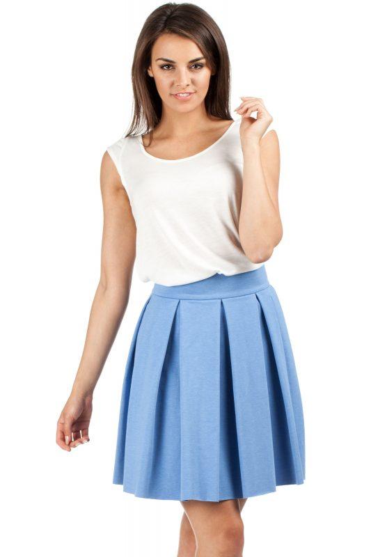 Mini spódnica z kontrafałdą niebieska