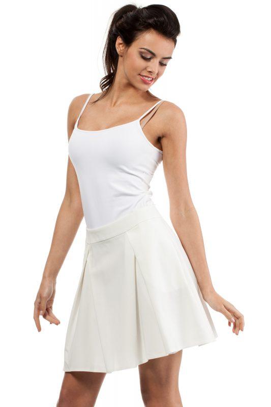 Rozkloszowana spódnica z kontrafałdą ecru