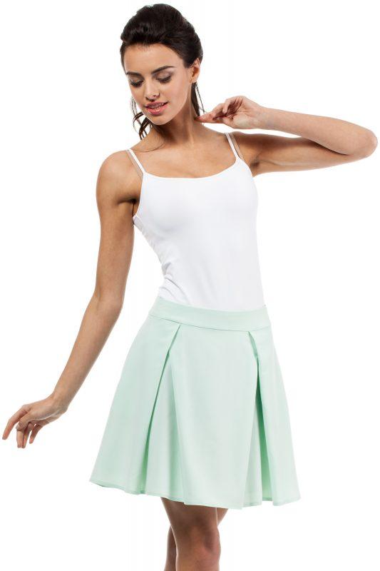 Rozkloszowana spódnica z kontrafałdą miętowa