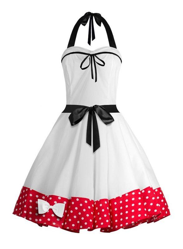 Sukienka rozkloszowana na szyję wiązana na plecach biała