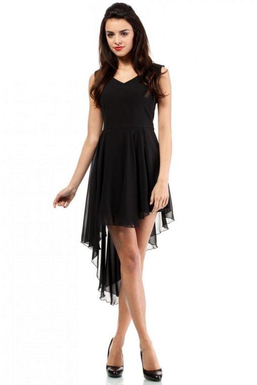 Letnia asymetryczna sukienka z szyfonu czarna