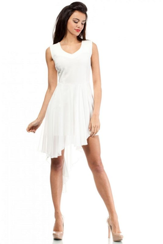 Letnia asymetryczna sukienka z szyfonu ecru