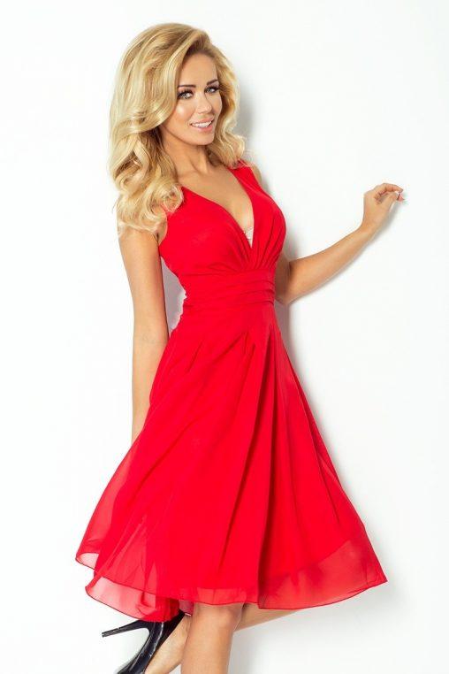 Letnia asymetryczna sukienka z szyfonu czerwona