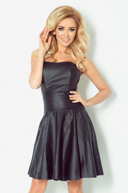 Gorsetowa sukienka z ekoskóry czarna